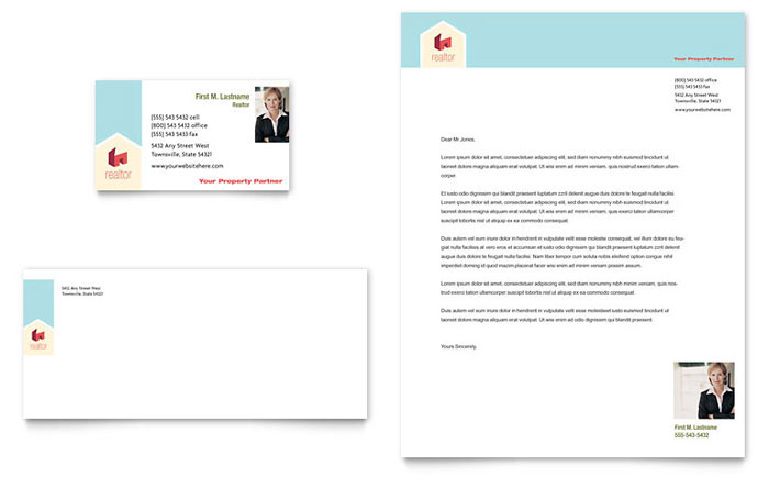 Home Real Estate Business Card & Letterhead Template Design