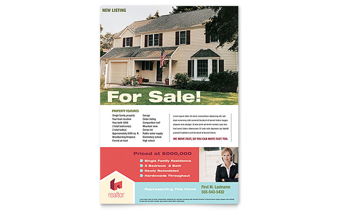 home for sale by owner flyer template - home real estate flyer template design