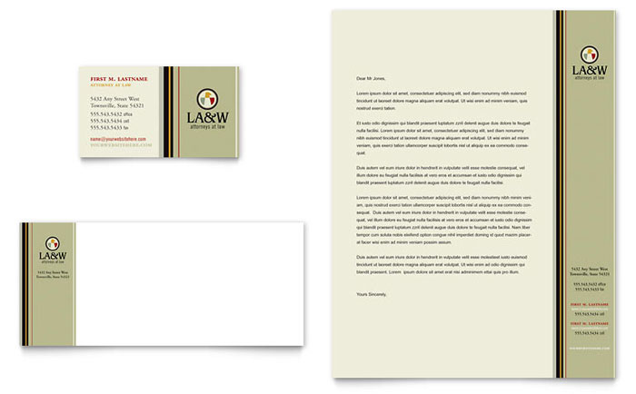 Lawyer & Law Firm Business Card & Letterhead Template Design Download - InDesign, Illustrator, Word, Publisher, Pages