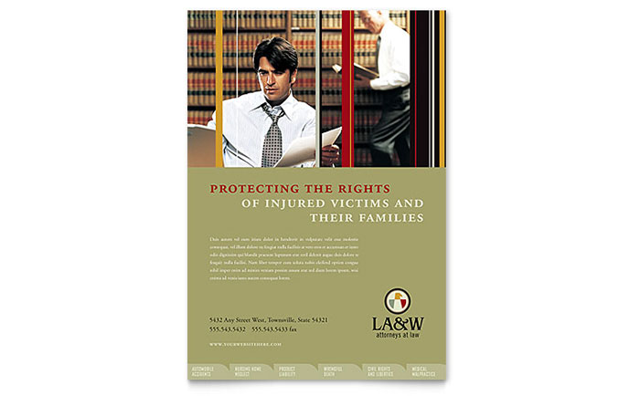 Lawyer & Law Firm Flyer Template Design Download - InDesign, Illustrator, Word, Publisher, Pages
