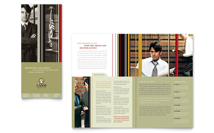 legal size brochure template - lawyer law firm tri fold brochure template design