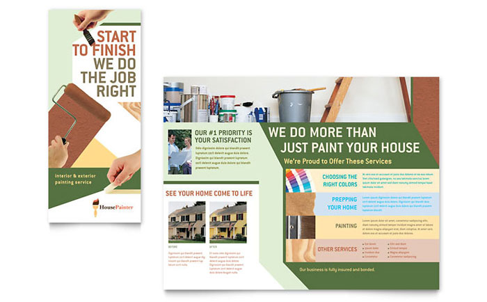 Painter Painting Contractor Brochure Template Design