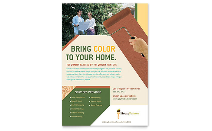 Painter u0026 Painting Contractor Flyer Template Design