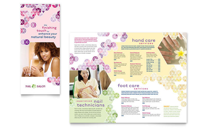 salon brochure templates - nail salon brochure template design