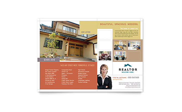 Realtor & Real Estate Agency Flyer Template Design Download - InDesign, Illustrator, Word, Publisher, Pages