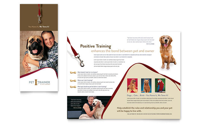 pet training dog walking brochure template design. Black Bedroom Furniture Sets. Home Design Ideas