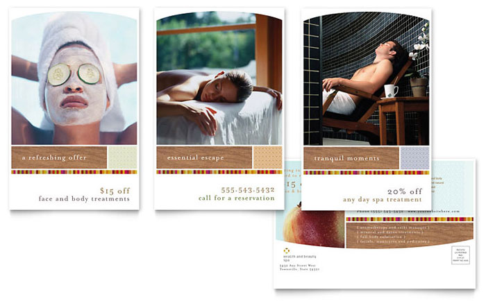 Health & Beauty Spa Postcard Template Design Download - InDesign, Illustrator, Word, Publisher, Pages