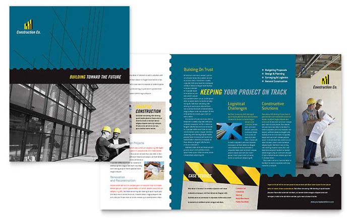 Industrial Commercial Construction Brochure Template Design - Construction brochure templates
