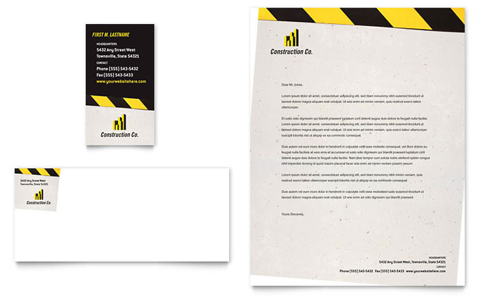 Construction business cards templates design examples industrial commercial construction business card letterhead cheaphphosting Choice Image