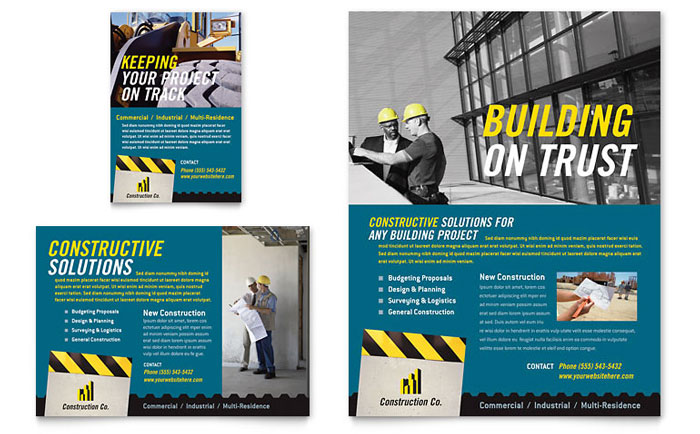 Industrial Commercial Construction Flyer Ad Template Design - Construction brochure templates