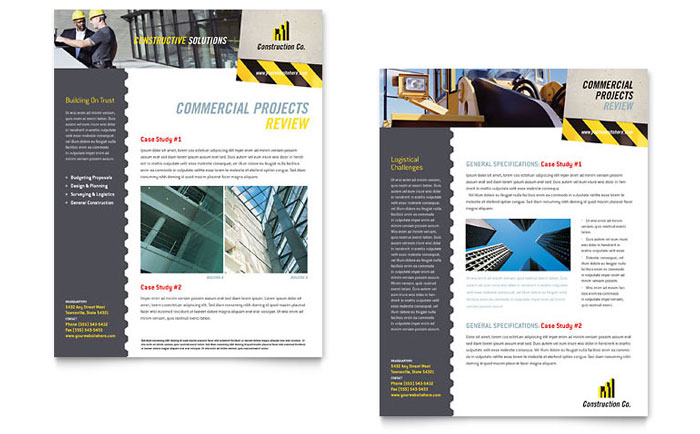 Industrial & Commercial Construction Datasheet Template Design Download - InDesign, Illustrator, Word, Publisher, Pages