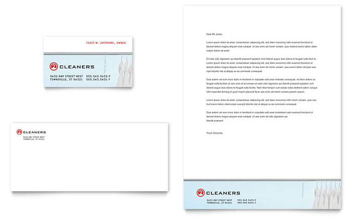 Laundry & Dry Cleaners Business Card & Letterhead Template Design Download - InDesign, Illustrator, Word, Publisher, Pages