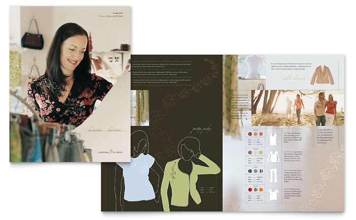 women s clothing store brochure template design