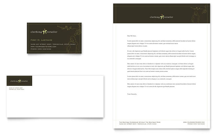 Women's Clothing Store Business Card & Letterhead Template Design Download - InDesign, Illustrator, Word, Publisher, Pages