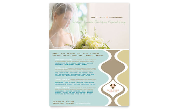 Wedding Store & Supplies Flyer Template Design Download - InDesign, Illustrator, Word, Publisher, Pages