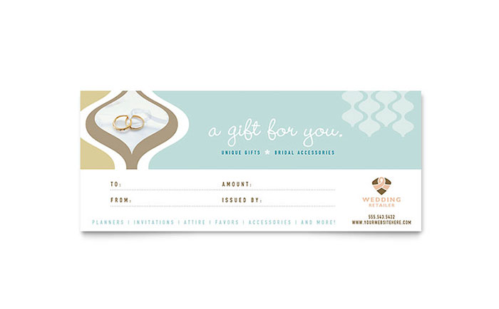 wedding store  u0026 supplies gift certificate template design