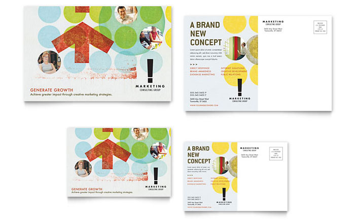Marketing Consultant Postcard Template Design