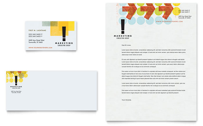 Marketing consultant business card letterhead template for Business design consultant