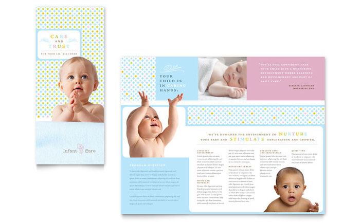infant care babysitting brochure template design