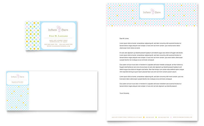 Infant Care Babysitting Business Card Letterhead Template Design