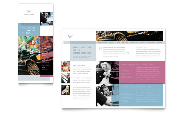 Limousine Service Brochure Template Design Download - InDesign, Illustrator, Word, Publisher, Pages