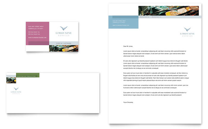 Limousine Service Business Card & Letterhead Template Design - InDesign, Illustrator, Word, Publisher, Pages