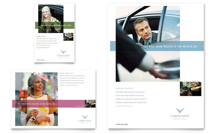 Limousine Service Flyer & Ad Template Design Download - InDesign, Illustrator, Word, Publisher, Pages