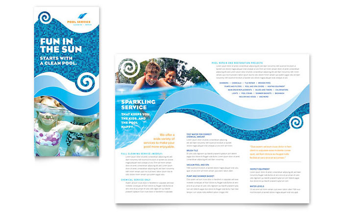 Swimming Pool Cleaning Service Brochure Template Design
