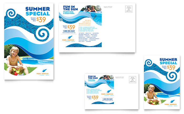 Swimming pool cleaning service postcard template design for Pool design templates