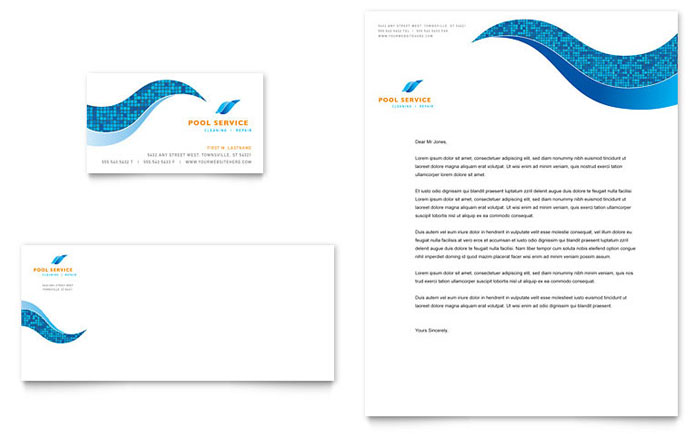 Swimming pool cleaning service business card letterhead for Pool design templates