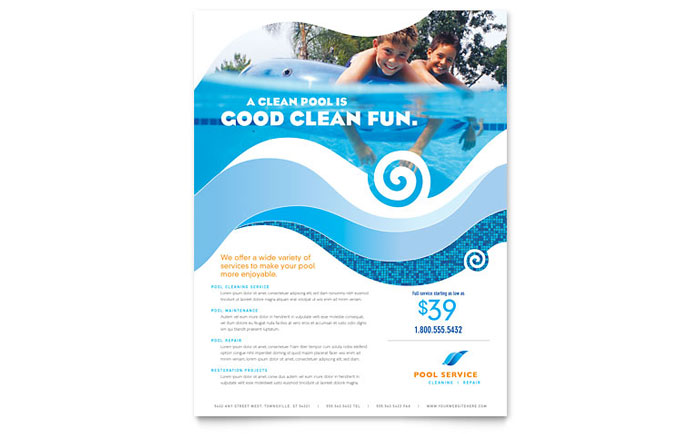 Swimming pool cleaning service flyer template design for Pool design services