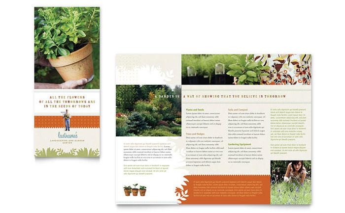 Landscape garden store brochure template design for Nursery brochure templates free