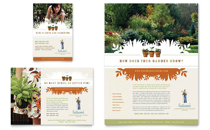 Landscape garden store flyer ad template design for Landscaping flyers templates