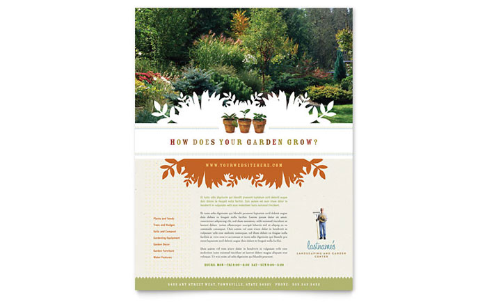 Gardening Lawn Care Flyers Templates Graphic Designs