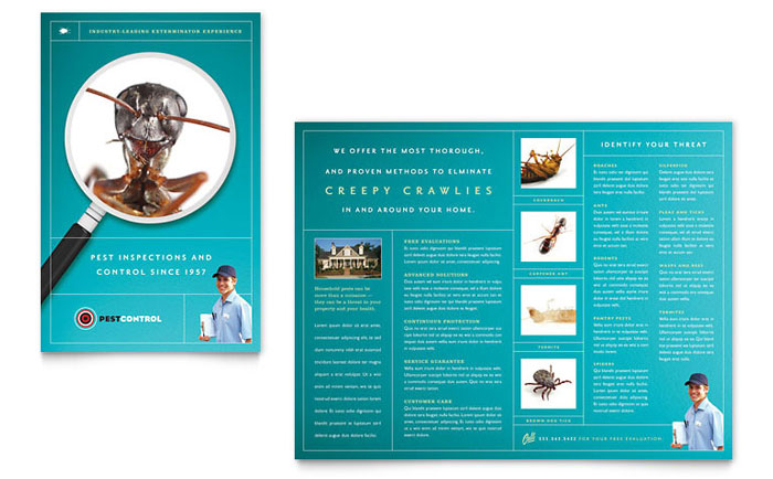 pest control services brochure template design. Black Bedroom Furniture Sets. Home Design Ideas