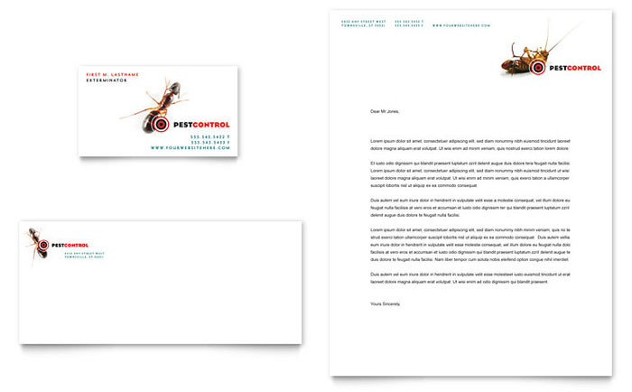 Pest Control Services Business Card & Letterhead Template Design Download - InDesign, Illustrator, Word, Publisher, Pages
