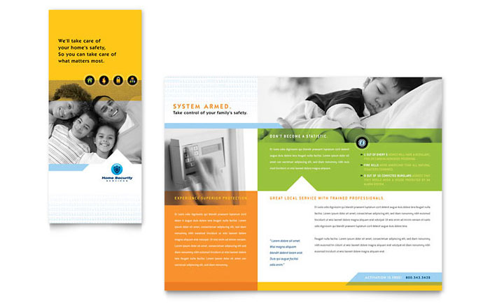 Home security systems brochure template design for Brochures design templates