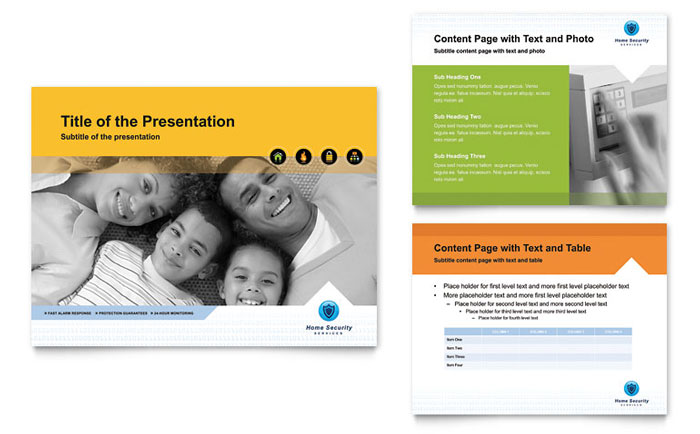 home security systems powerpoint presentation template design, Presentation templates