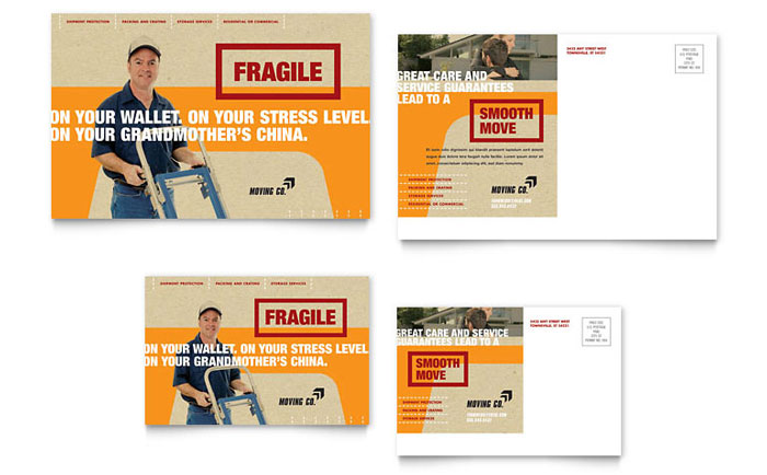 movers moving company postcard template design