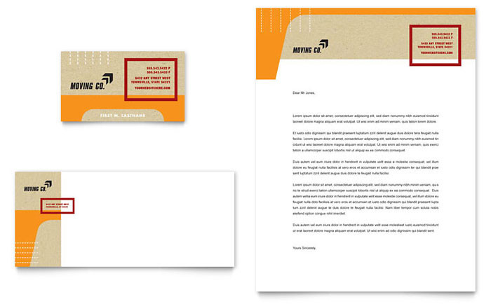 Movers & Moving Company Business Card & Letterhead Template Design
