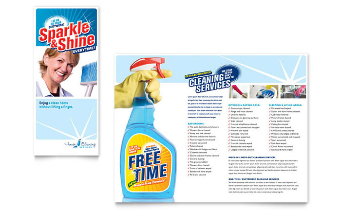 house cleaning  u0026 housekeeping brochure template design