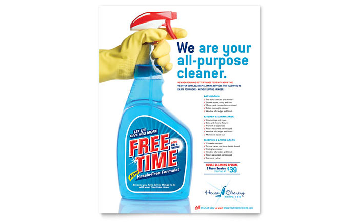 House Cleaning amp Housekeeping Flyer Template Design