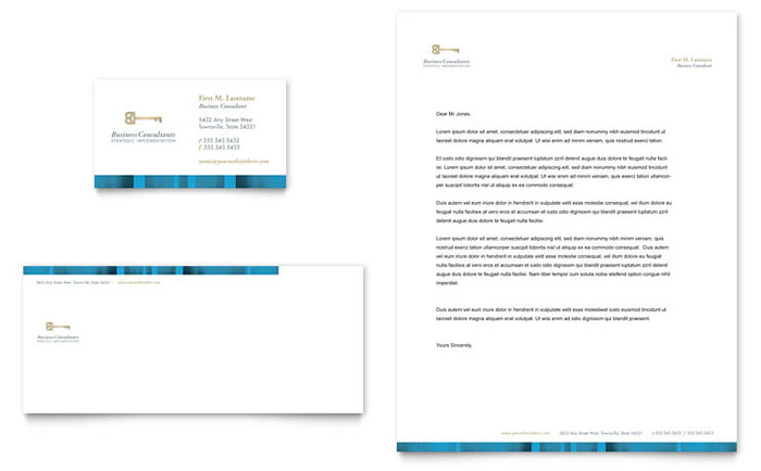 Small business consulting business card letterhead template design accmission
