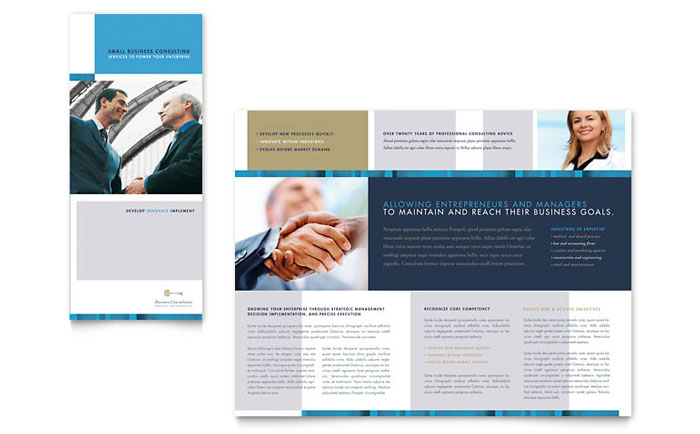 Small business consulting tri fold brochure template design for Free business brochures templates