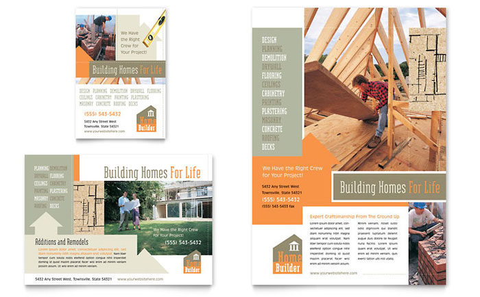 Home building carpentry flyer ad template design for Construction brochure design pdf