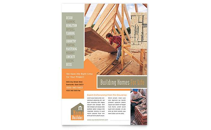 Home Building Carpentry Flyer Template Design