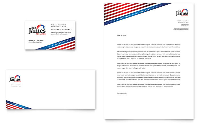 Political campaign business card letterhead template design colourmoves