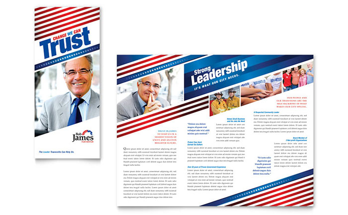 Political Campaign Tri Fold Brochure Template Design Download - InDesign, Illustrator, Word, Publisher, Pages