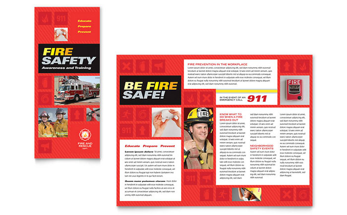 fire safety brochure template design. Black Bedroom Furniture Sets. Home Design Ideas