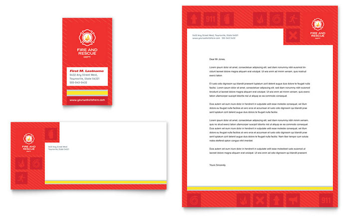 Fire Safety Business Card & Letterhead Template Design Download - InDesign, Illustrator, Word, Publisher, Pages